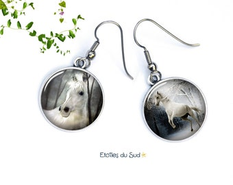Earrings white horses, the camargue, surgical steel hooks, ref.263