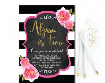 Black & White Stripe Birthday Invitation - Floral Birthday Invitation - Black Pink and Gold Chalkboard Birthday Invite - Printable - ANY AGE