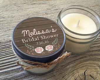 Set of 12 - 4 oz Personalized Bridal Shower Candles//Mason Jar // Barnwood//Shabby Chic//Rustic Wedding//Wedding Favors//Candle Favor