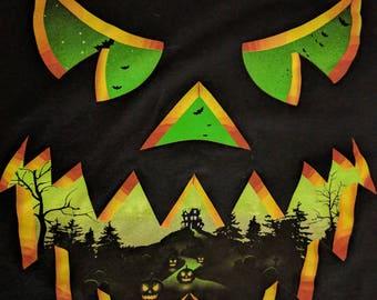 Haunted Jack-o-lantern Black T-shirt Size L