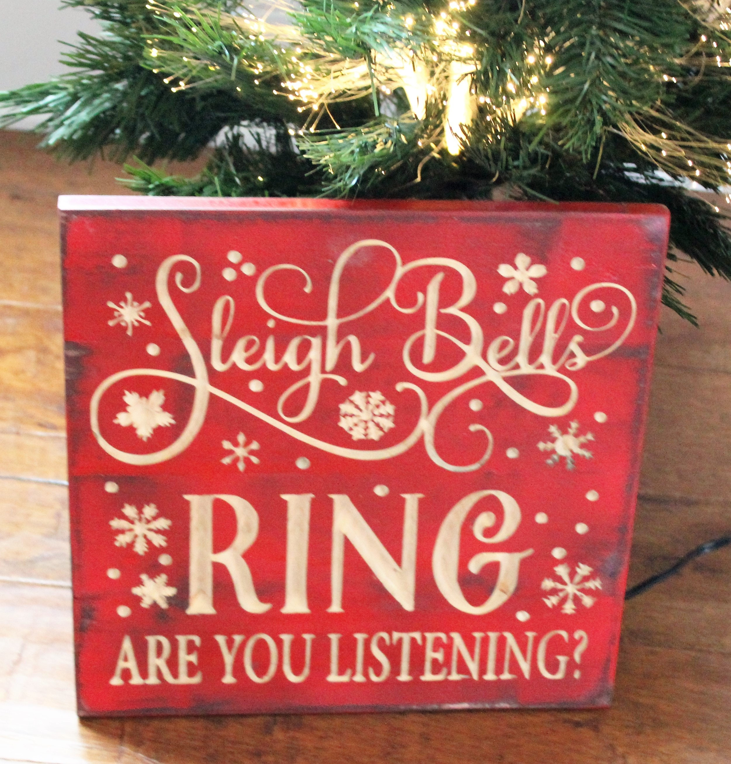 Sleigh Bells Carved Wood Wall Art Rustic Christmas Signs