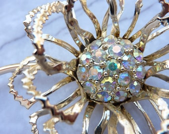 Large Stunning Vintage Signed Sarah Coventry Floral Flower Brooch Pin Gold-Tone With Aurora Borealis Rhinestones Crystals 1960s 1970s