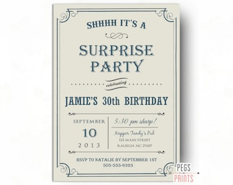 Adult Surprise Birthday Party Invites Printable - Surprise Birthday Invitation for Men - Surprise Birthday Party Invitation for Men