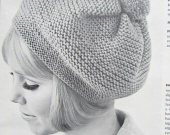 Knitted Hat Pattern, 1960's Vintage Hat Pattern, Beret Pattern 1410 PDF Pattern