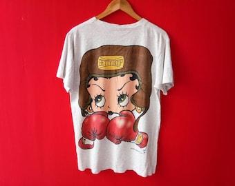 vintage betty boop boxing medium mens t shirt
