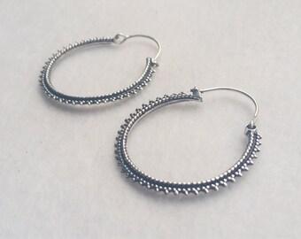 Silver Hoop Earrings, Hoop Earrings, Boho Earrings, Tribal Jewellery, Ethnic Jewellery, Silver Jewellery