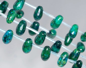 11x7mm Turquoise Chrysocolla Gemstone Topdrill Briolette Teardrop Loose Beads 16 inch Full Strand (90114167-206)