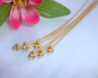 6 pcs, 24ga gauge, 50mm, 2 Inches, Handmade Gold VermeilSterling Silver 4 balls headpin