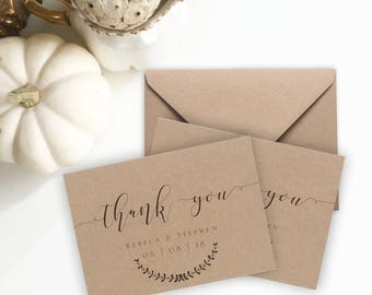 Wedding Thank Cards with envelopes, MINI size thank you note cards Rustic wedding thank you notes Personalised 10pk Printed. Blank inside.