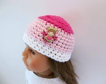 18 inch Doll  Crochet Hat White, Light Pink, Dark Pink Flutterbug Accessories Toys