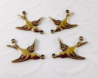 4Pcs Brass 2 ring sparrow connectors, Brass Bird Connectors, Bird Connectors #A60