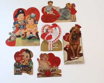 1940s Lot of 6 Signed Valentine Cards, Vintage Used Valentine's Day Cards, Vintage Valentine Greeting Cards