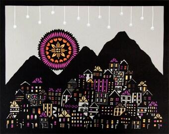 Sundown on a Mountain Town - 11 x 14 inch Cut Paper Art Print