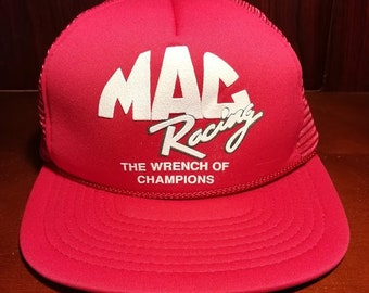 Vintage MAC Racing red and white snapback trucker hat