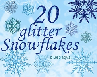 Digital 20  blue and aqva Glitter Snowflakes, 20, snowflakes clipart, winter christmas clip art, new year Digital Collage, Instant Download