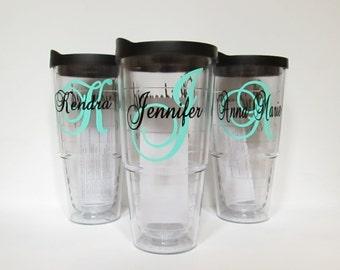 Personalized tumbler,  bridesmaid tumbler, personalized travel mug, bridesmaid gift, monogram tumbler