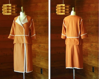 vintage Bonwit Teller terracotta orange two piece set / size small