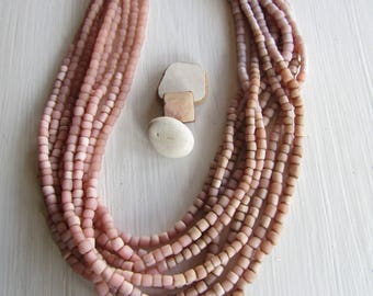 Small glass seed beads , 4 tones , pink tones, matte  ethnic tube barrel, New Indo-pacific 3 to 6mm (21 inches strd) 7AB20-5
