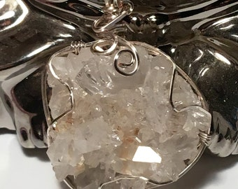 Wire wrapped clear quartz cluster!