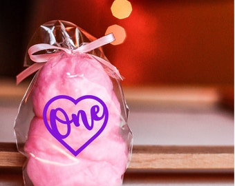 20 Pink Cotton Candy One Heart