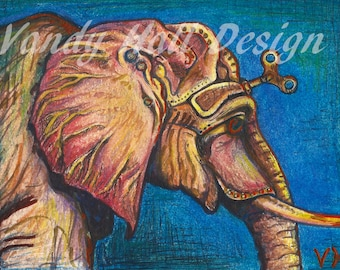 Clockwork Elephant Print by Vandy Hall, matted, numbered, signed