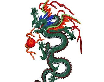 Green Chinese Dragon Patch Flying Legendary Serpent Embroidered Iron On Applique