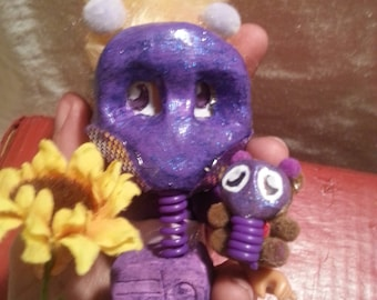 """4 of 4 """"Gas Mask Girls"""" doll series from SurrealeArt.Comes with FREE matching bear miniature. Comes in a jar. OOAK"""
