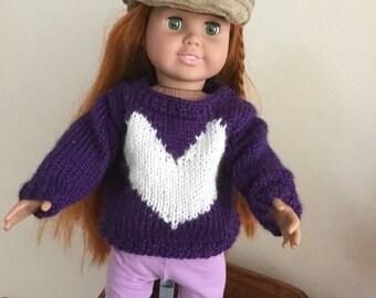 Purple Valentine Dol Sweater