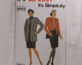 Vintage SIMPLICITY 9958 Misses Suiting Pattern, Straight Skirt, Jacket in Two Lengths, sizes 8 - 20 in one Pattern, from 1990, Uncut