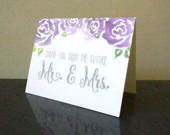 Wedding Shower Thank you From the Future Mr. & Mrs. Cards Watercolor Floral Set of 16