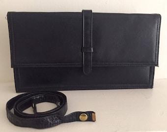 Navy Blue leather envelope clutch bag w/optional shoulder strap