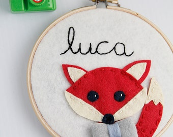 Fox Nursery Art / Red Fox / Baby Boy Gift / Personalized Embroidery Hoop Art / Woodland Fox Nursery /Name Sign / Custom Sign/ For Fox Sake