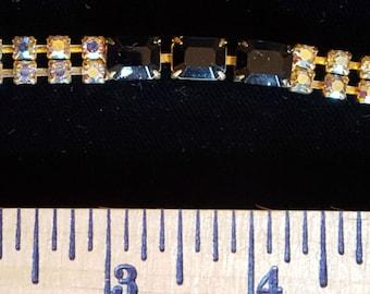 Black & Iridescent Aurora Rhinestone Vintage Bracelet