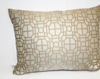 Decorative Indoor  12x16 Lt Gold and Cream Lattice Design Indoor Pillow