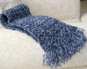 Scarf - Denim Navy Blue Variegated with Fringe