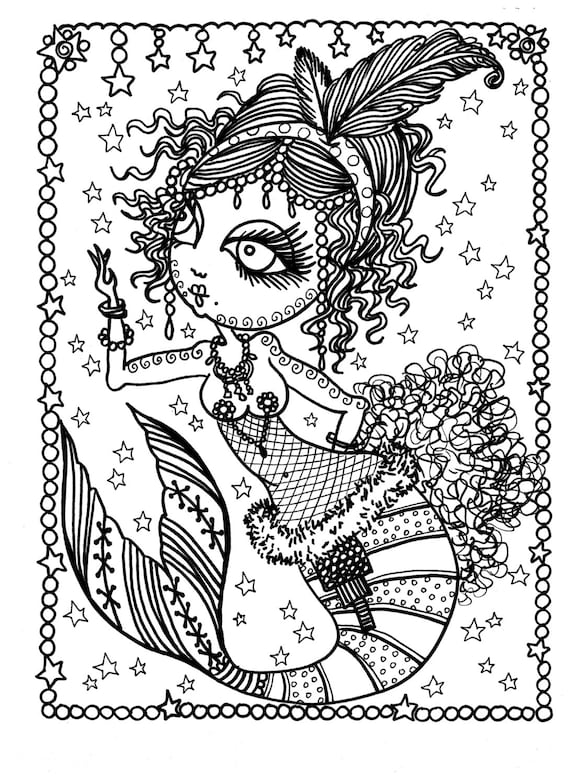 5 Pages of Burlesque Mermaids to Color Adult coloring Dance