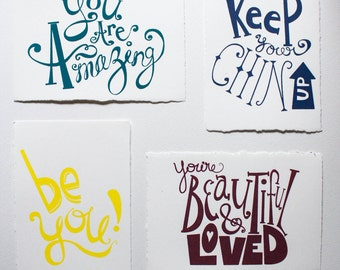 Hand Screenprinted Inspirational Postcards - Set of 4