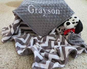 Baby Boy Blanket, Personalized Baby Boy Blanket, Gray Chevron  Baby Boy Blanket, Baby Gift, Baby Shower Gift, Minky Baby Blankets