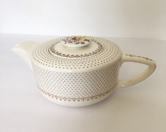 Transferware Tea Pot 1940s Brown Dot and Floral Low Slung Early Mid Century