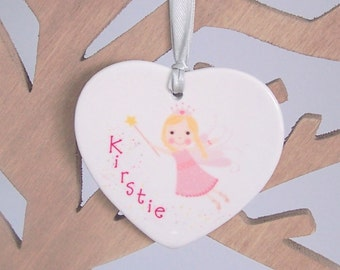 Personalized Ceramic FairyHeart Christmas Tree Decoration - Xmas Tree Ornament Personalised With Name - Buy 3 Get 1 Free