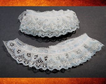 Trim - Blue and White Lace Double Layered Ruffle Trim. 2 pieces. Over two yards total. Sewing and craft supplies. #TRIM-068