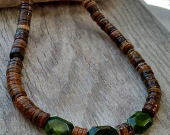 Mens beaded necklace brown and green mens necklace guys necklace shell masculine jewelry mens jewellery