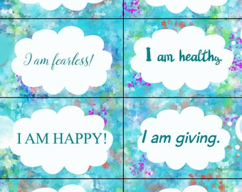Printable affirmations, trading cards, motivation cards, art cards, commercial art, you print, inspirational cards, editable affirmations