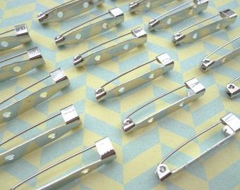 50PCS--31x5mm--Silver  metal bar pin back brooch