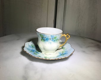 Demitasse cup and saucer, vintage teacup and saucer, blue floral tea cup and saucer, tea party, vintage tea party