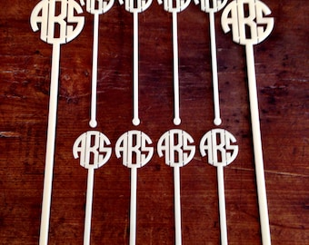 Monogram Swizzle Stick Hostess Set// Stock The Bar Party//Personalized Bar Set//Pitcher and Drink Stir Sticks//Mens Gift