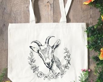 Goat Farmer's Market Tote - Heavy Canvas Large Bag