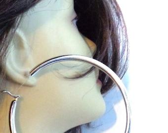Large Hoop Earrings SILVER Plated Round Hoop Earrings Thick Cast Tube Hoop Hypo-Allergenic Hoops 4 inch