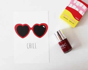 Postcard chill heart card / paper glasses original relaxing serenity cool trendy decoration matching red reflection