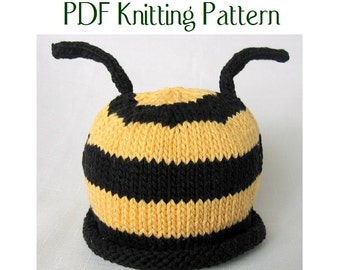 Baby Bumble Bee and Ladybug hat pattern, knit, Boston Beanies